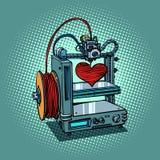 Bioprinter prints love heart 3D printer manufacturing. Valentines day and holidays. Comic book cartoon pop art retro illustration vector Stock Photos