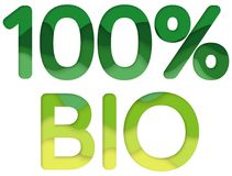 100% BIOproductembleem vector illustratie