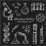bioquímica Sistema dibujado mano del garabato bosquejos Ejemplo del vector para el producto del diseño y de los paquetes stock de ilustración