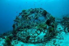 Biorocks av korallrever i Gili, Lombok, Nusa Tenggara Barat, Indonesien undervattens- foto Arkivfoton
