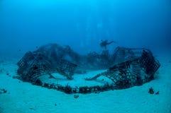 Biorocks und Taucher, die herum in Gili, Lombok, Nusa Tenggara Barat, Indonesien-Unterwasserfoto schwimmen Lizenzfreie Stockbilder