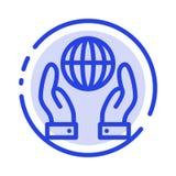 Biosfär beskydd, energi, blå prickig linje linje symbol för makt royaltyfri illustrationer