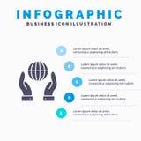 Biosfeer, Behoud, Energie, Machts Stevig Pictogram Infographics 5 de Achtergrond van de Stappenpresentatie vector illustratie