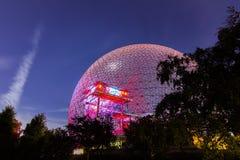 Biosfera di Montreal dopo il tramonto Fotografie Stock Libere da Diritti