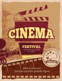 Bioskoop, de vector uitstekende affiche van het filmfestival vector illustratie