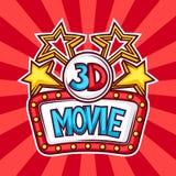 Bioskoop en 3d film reclameachtergrond in beeldverhaalstijl Vector Illustratie