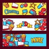 Bioskoop en 3d film reclamebanners in beeldverhaalstijl Vector Illustratie