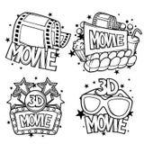 Bioskoop en 3d film reclameontwerpen in beeldverhaalstijl Royalty-vrije Illustratie