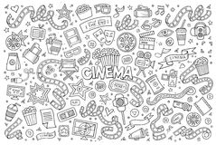 Bioskoop, film, de schetsmatige vectorsymbolen van filmkrabbels Royalty-vrije Stock Foto