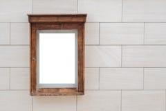 Bioskoop, theater houten traditionele doos met papierruimte voor model stock fotografie