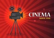 Bioskoopachtergrond of banner Filmvlieger Royalty-vrije Stock Afbeeldingen