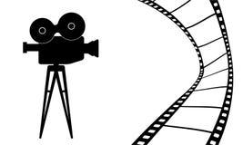 Bioskoopcamera en film vectorillustratie Stock Afbeeldingen
