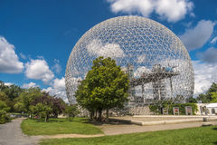 Biosphere, Environment Museum. Architectural masterpiece and symbol of Expo 67, the Biosphere is a unique and spectacular structure, located at Parc Jean-Drapeau stock image