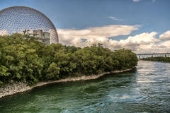 Biosphere, Environment Museum. Architectural masterpiece and symbol of Expo 67, the Biosphere is a unique and spectacular structure, located at Parc Jean-Drapeau royalty free stock photography