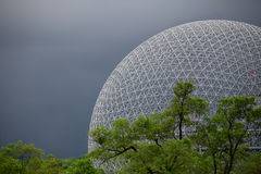 The Biosphere 2. Expo 67 US Pavilion in Montreal before the storm stock images