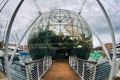 Biosphere. Genoa, Italy - December 20, 2012: The Aquarium and the tropical Biosphere in the harbor of the city. It is a popular tourist attraction in Genoa royalty free stock images