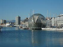 Biosphere, Genoa, Italy. Biosphere in marina of Genoa, Italy on sunny day stock images