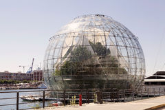 The Biosphere, Genoa, italy. The Biosphere at the old harbour of genoa, Italy. The Biosphere is a scenic structure near the Aquarium designed in 2001 by stock images