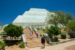 Biosphere 2 Greenhouse. Oracle, AZ, USA - May 15, 2013: Visitors tour the unique and controversial Biosphere 2 facility used to study the prospects for space stock images