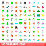 100 biosphere icons set, cartoon style Stock Images