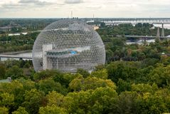 The Biosphere in Montreal - Buckminster-Fullerine Molecule - in colour stock photos