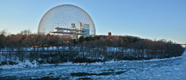 Biosphere. MONTREAL-CANADA 02 13 2017: Biosphere is a museum in Montreal dedicated to the environment. Located at Parc Jean-Drapeau in the former pavilion of the royalty free stock photos