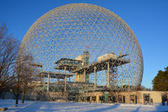Biosphere. MONTREAL-CANADA 02 13 2017: Biosphere is a museum in Montreal dedicated to the environment. Located at Parc Jean-Drapeau in the former pavilion of the royalty free stock image