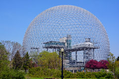 Biosphere. MONTREAL-CANADA 05 19 2017: Biosphere is a museum in Montreal dedicated to the environment. Located at Parc Jean-Drapeau in the former pavilion of the royalty free stock photo