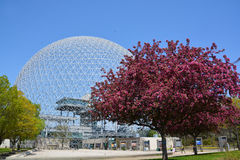 Biosphere. MONTREAL-CANADA 05 19 2017: Biosphere is a museum in Montreal dedicated to the environment. Located at Parc Jean-Drapeau in the former pavilion of the royalty free stock photography