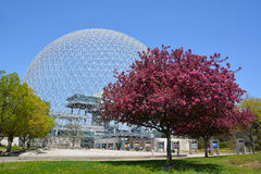 Biosphere. MONTREAL-CANADA 05 19 2017: Biosphere is a museum in Montreal dedicated to the environment. Located at Parc Jean-Drapeau in the former pavilion of the royalty free stock image