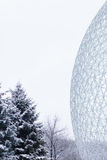 Biosphere in Montreal, Canada. MONTREAL, QUEBEC/CANADA – 02 06, 2016: A winter day view of The Biosphere is a museum dedicated to the environment located stock images
