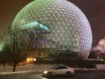 Biosphere of Montreal. With the grass around it covered with snow stock photo