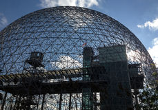 Biosphere in Montreal, Quebec. MONTREAL, QUEBEC -- MAY 29, 2015 -- The Biosphere, a structure designed by R Buckminster Fuller in 1967, boasts as the only North royalty free stock images