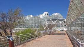 BioSphere 2 - Panorama. A panoramic view of the buildings at Biosphere 2 - It is located north of Tucson, Arizona at the base of the stunning Santa Catalina stock image