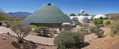 BioSphere 2 - Panorama. A panoramic view of Biosphere 2 - It is located north of Tucson, Arizona at the base of the stunning Santa Catalina Mountains royalty free stock images