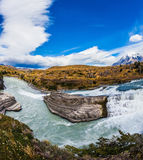 Biosphere Reserve. Chile, Paine Cascades. National Park Torres del Paine National Park - Biosphere Reserve. Cold water is emerald Paine river forms a cascading stock photography