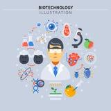 Biotechnologie farbige Zusammensetzung stock abbildung
