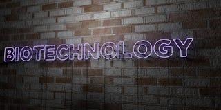 BIOTECHNOLOGIE - Glühende Leuchtreklame auf Steinmetzarbeitwand - 3D übertrug freie Illustration der Abgabe auf Lager lizenzfreie abbildung