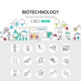Biotechnologie-lineares Konzept vektor abbildung