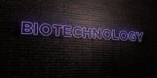 BIOTECHNOLOGIE - realistische Leuchtreklame auf Backsteinmauerhintergrund - 3D übertrug freies Archivbild der Abgabe lizenzfreie abbildung