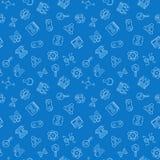 Biotechnologie vector blauw naadloos patroon in dunne lijnstijl stock illustratie