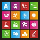 Biotechnologiemetroart-Ikonensätze Lizenzfreie Stockbilder