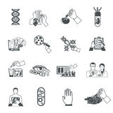 Biotechnology Black Icons Set. Of scientific research in field of genetic engineering and nanotechnology  vector illustration Stock Photography