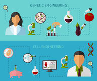 Biotechnology Colored Banners Set Stock Images