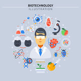 Biotechnology Colored Composition. With science icon set around scientist on gray background vector illustration stock illustration