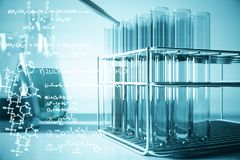 Biotechnology concept. Blue lab equipment and chemical formulas on light background. Biotechnology concept. 3D Rendering Royalty Free Stock Image