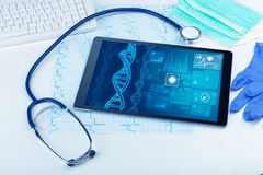 Biotechnology concept with medical technology devices. Genetic test and biotechnology concept with medical technology devices stock photo