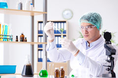 Biotechnology concept with scientist in lab Royalty Free Stock Photo