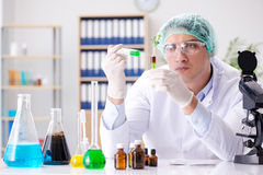The biotechnology concept with scientist in lab Royalty Free Stock Photos