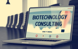 Biotechnology Consulting - on Laptop Screen. Closeup. 3D. Mobile Computer Screen with Biotechnology Consulting Concept on Landing Page. Closeup View. Modern Royalty Free Stock Image